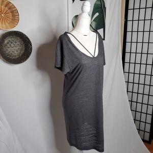 Revolve LNA Charcoal Gray Strappy Shirt Dress